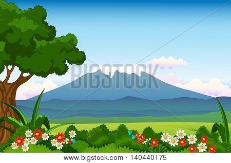 beauty flowers garden with mountain landscape background