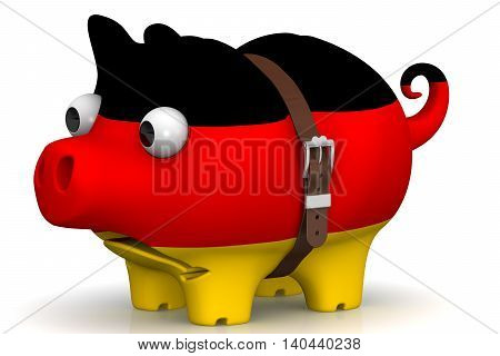 The crisis of the Germany economy. Tightened with a strap pig piggy bank with bulging eyes in the color of the Germany flag on a white surface. The concept of the economic crisis in Germany. Isolated. 3D Illustration