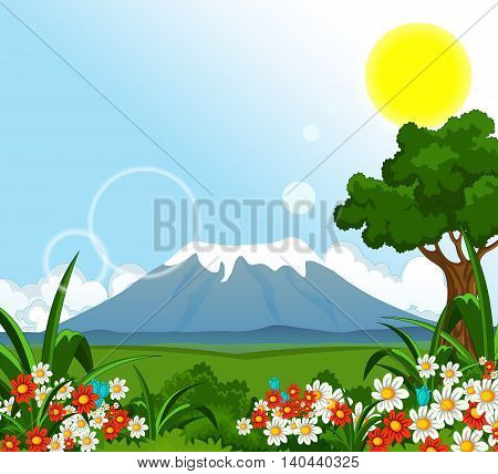 morning view with beauty flower garden and mountain background