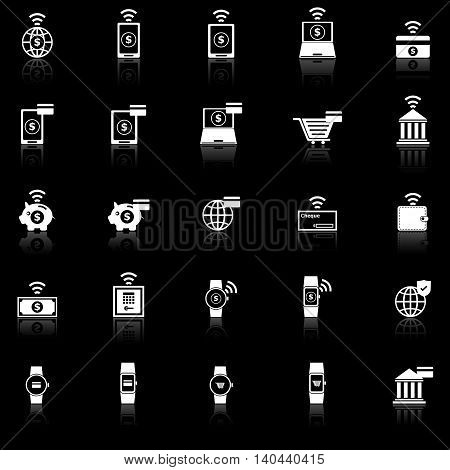 Fintech icons with reflect on black background, stock vector