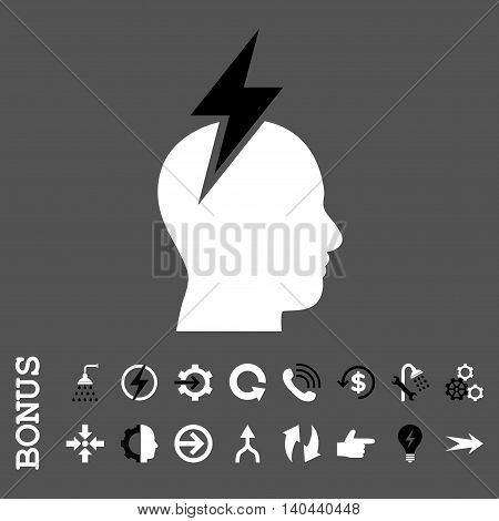 Headache vector bicolor icon. Image style is a flat pictogram symbol, black and white colors, gray background.