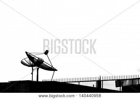 black and white antenna in the top