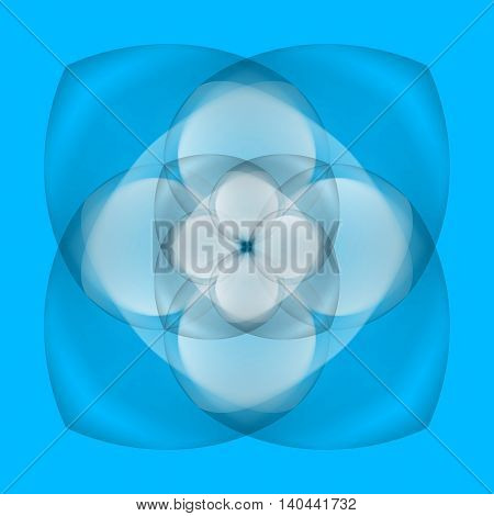 Illustration of abstract white flower with transparent elements on blue background