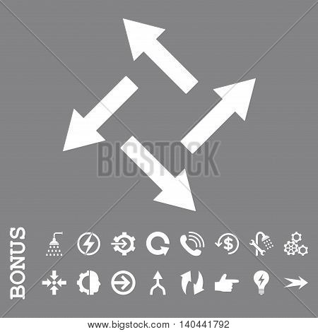 Centrifugal Arrows vector icon. Image style is a flat pictogram symbol, white color, gray background.
