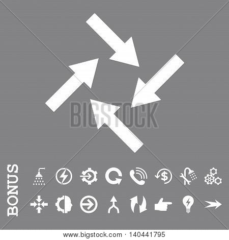 Centripetal Arrows vector icon. Image style is a flat pictogram symbol, white color, gray background.