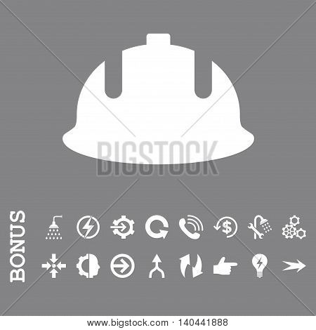 Construction Helmet vector icon. Image style is a flat iconic symbol, white color, gray background.