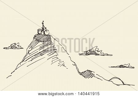 Sketch of a rider with a bicycle, standing on top of a hill. Vector illustration