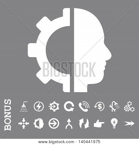 Cyborg Gear vector icon. Image style is a flat pictogram symbol, white color, gray background.