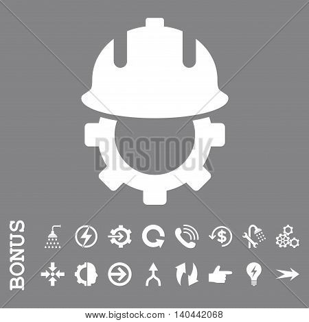 Development Helmet vector icon. Image style is a flat pictogram symbol, white color, gray background.