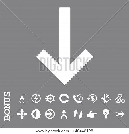 Down Arrow vector icon. Image style is a flat pictogram symbol, white color, gray background.