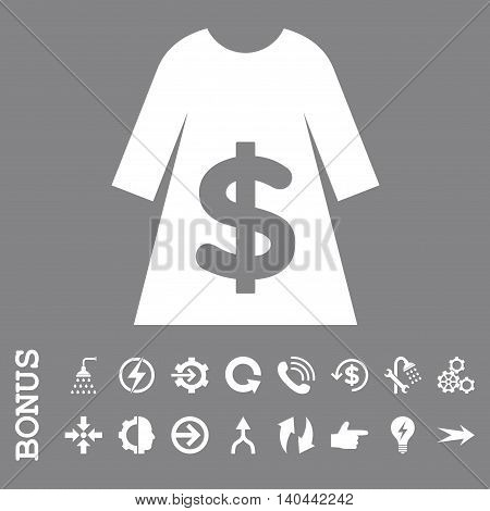Dress Sale vector icon. Image style is a flat pictogram symbol, white color, gray background.