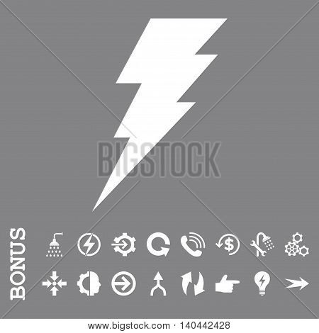 Execute vector icon. Image style is a flat pictogram symbol, white color, gray background.