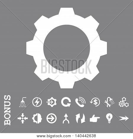 Gear vector icon. Image style is a flat pictogram symbol, white color, gray background.