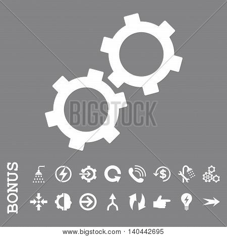 Gears vector icon. Image style is a flat pictogram symbol, white color, gray background.