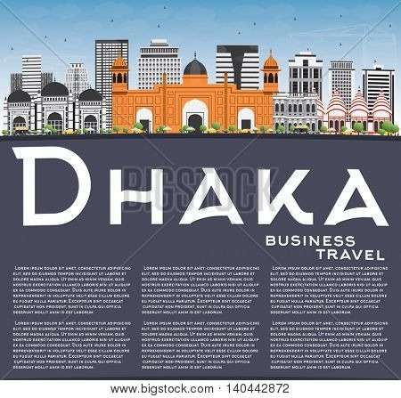 Dhaka Skyline with Gray Buildings, Blue Sky and Copy Space. Business Travel and Tourism Concept with Historic Buildings. Image for Presentation Banner Placard and Web Site.