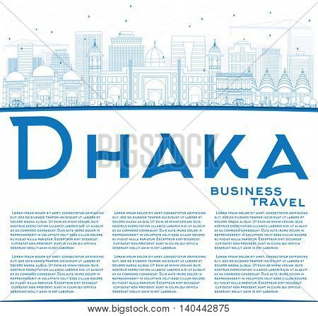 Outline Dhaka Skyline with Blue Buildings and Copy Space. Business Travel and Tourism Concept with Historic Buildings. Image for Presentation Banner Placard and Web Site.
