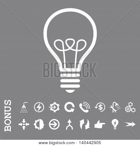 Lamp Bulb vector icon. Image style is a flat pictogram symbol, white color, gray background.