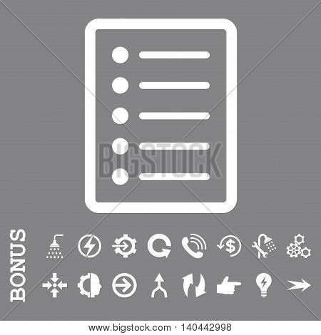List Page vector icon. Image style is a flat iconic symbol, white color, gray background.