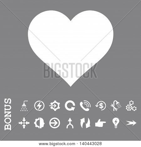 Love Heart vector icon. Image style is a flat iconic symbol, white color, gray background.