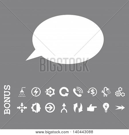 Message Cloud vector icon. Image style is a flat pictogram symbol, white color, gray background.