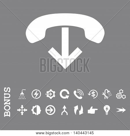 Phone Hang Up vector icon. Image style is a flat pictogram symbol, white color, gray background.