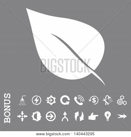 Plant Leaf vector icon. Image style is a flat pictogram symbol, white color, gray background.