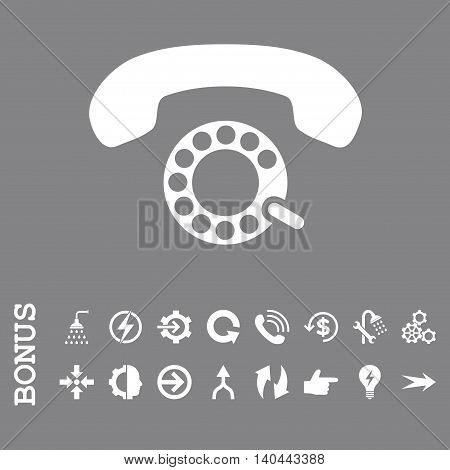 Pulse Dialing vector icon. Image style is a flat iconic symbol, white color, gray background.