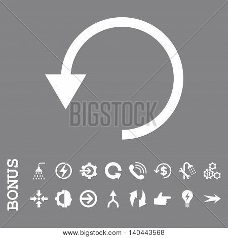 Rotate Ccw vector icon. Image style is a flat iconic symbol, white color, gray background.