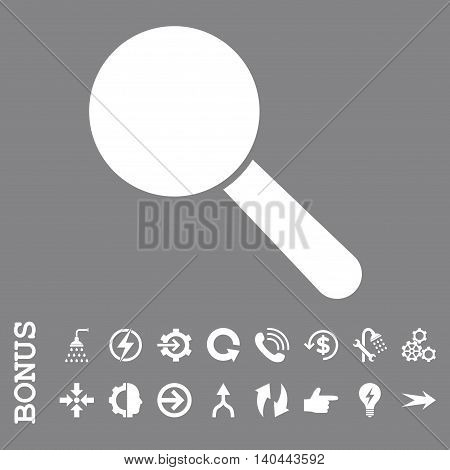 Search Tool vector icon. Image style is a flat iconic symbol, white color, gray background.