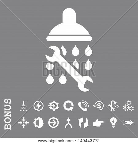 Shower Plumbing vector icon. Image style is a flat iconic symbol, white color, gray background.
