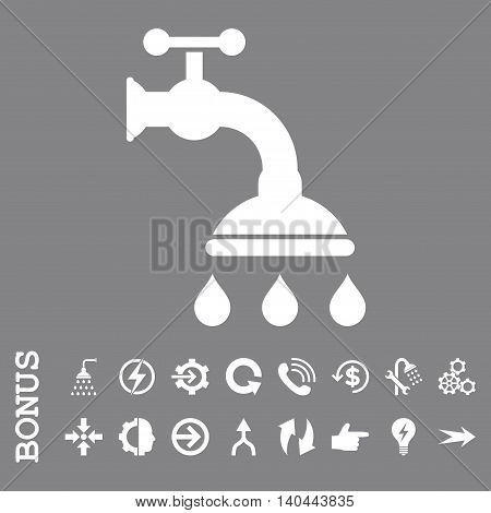 Shower Tap vector icon. Image style is a flat pictogram symbol, white color, gray background.