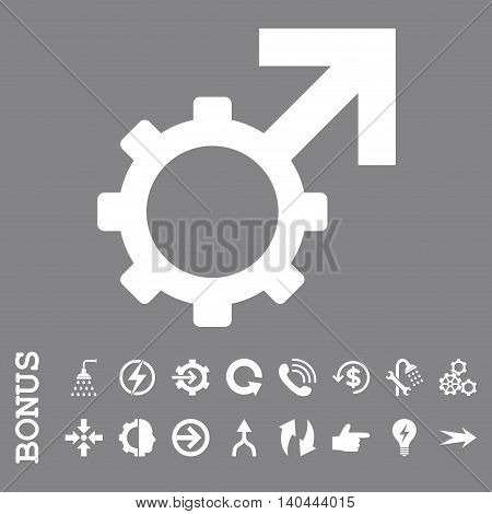 Technological Potence vector icon. Image style is a flat pictogram symbol, white color, gray background.