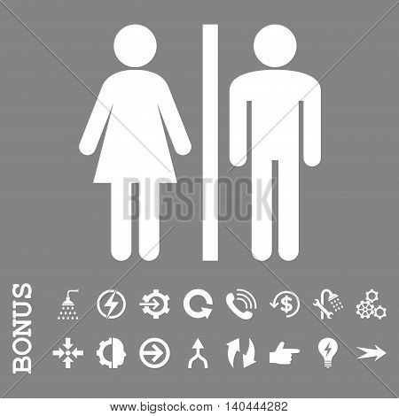 WC Persons vector icon. Image style is a flat pictogram symbol, white color, gray background.