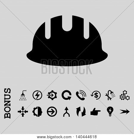 Builder Hardhat vector icon. Image style is a flat pictogram symbol, black color, light gray background.