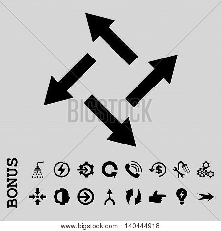 Centrifugal Arrows vector icon. Image style is a flat pictogram symbol, black color, light gray background.