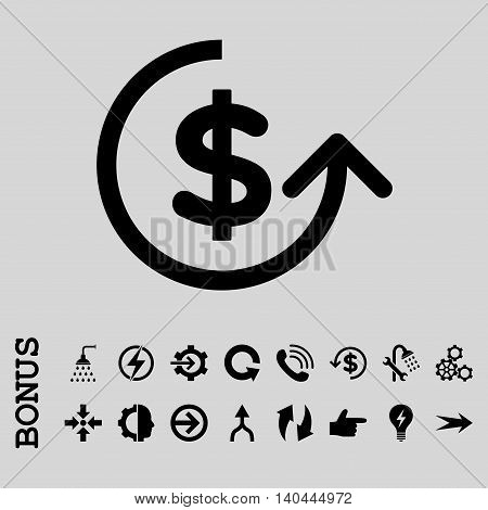 Chargeback vector icon. Image style is a flat pictogram symbol, black color, light gray background.
