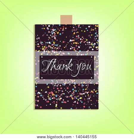 The black card thank you with a pattern of dots in pastel colors. Vector illustration.
