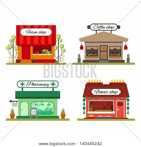 Set of different shops in flat style: farm product, coffee and flower store - vector illustration stock. Infographic elements. Market icon with showcases isolated on white background