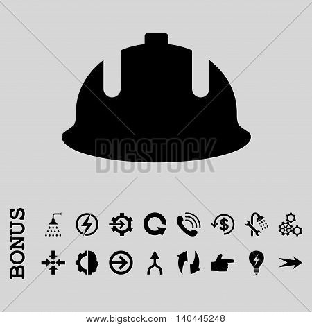 Construction Helmet vector icon. Image style is a flat iconic symbol, black color, light gray background.