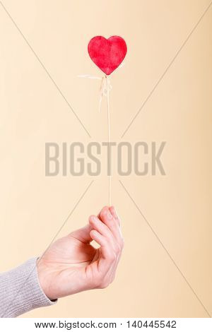 Symbolism love romance concept. Heart on wooden stick. Symbol of affection on pole held by human arm.