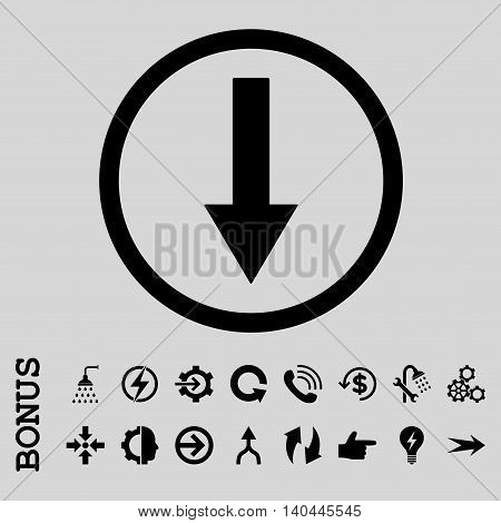 Down Rounded Arrow vector icon. Image style is a flat iconic symbol, black color, light gray background.