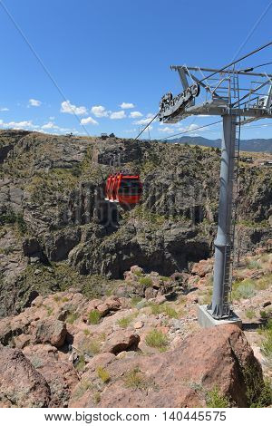 Gondolas over the Arkansas River at Royal Gorge in Colorado