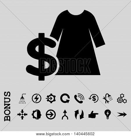 Dress Price vector icon. Image style is a flat iconic symbol, black color, light gray background.