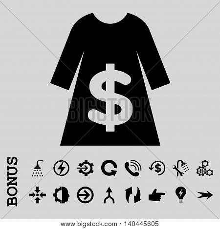 Dress Sale vector icon. Image style is a flat pictogram symbol, black color, light gray background.