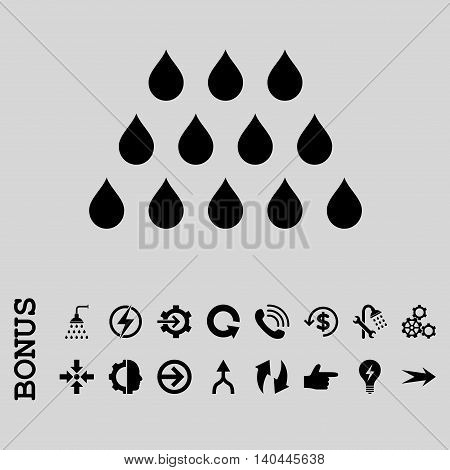 Drops vector icon. Image style is a flat pictogram symbol, black color, light gray background.