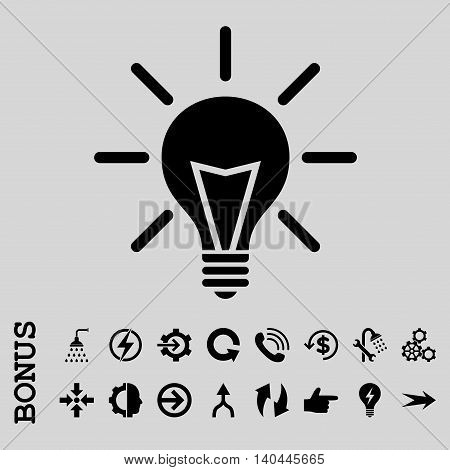 Electric Light vector icon. Image style is a flat pictogram symbol, black color, light gray background.