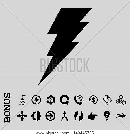 Execute vector icon. Image style is a flat iconic symbol, black color, light gray background.