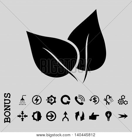 Flora Plant vector icon. Image style is a flat iconic symbol, black color, light gray background.