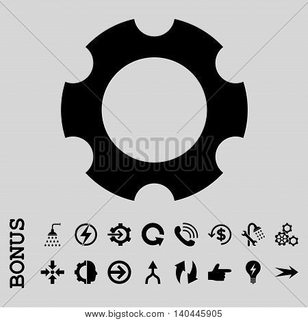 Gear vector icon. Image style is a flat pictogram symbol, black color, light gray background.