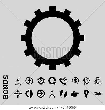 Gear vector icon. Image style is a flat iconic symbol, black color, light gray background.